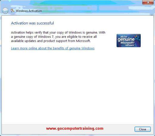 activate Windows 7 successful