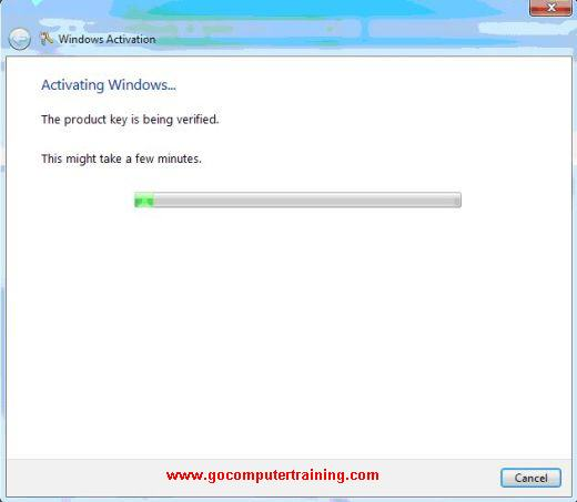 activating Windows 7 process