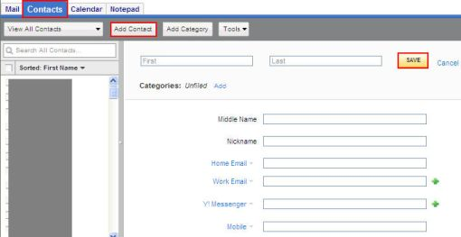 yahoo add contacts