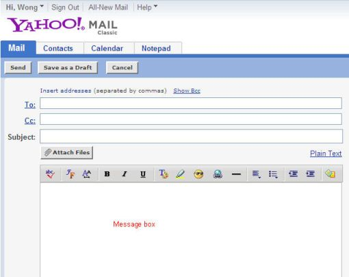 Yahoo compose mail