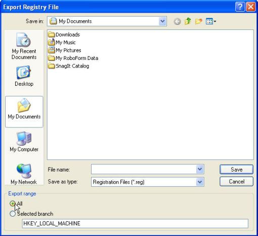 export registryfile dialog box