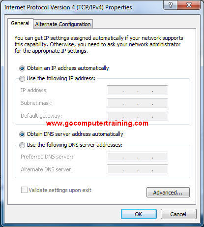 Windows 7 Internet protocol v4 properties dialog box