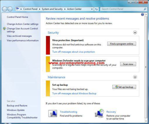 Windows 7 action center dialog box