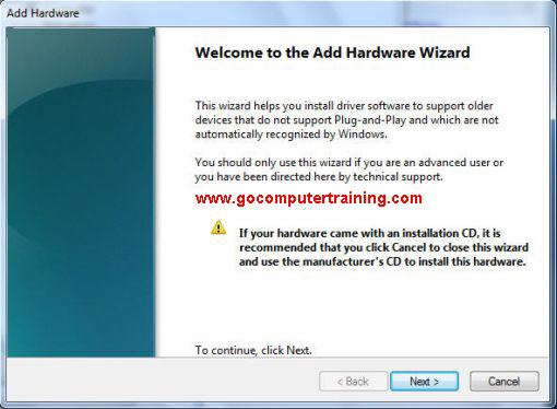 Windows 7 add hardware wizard