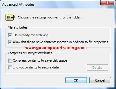 Windows 7 advanced attributes dialog box