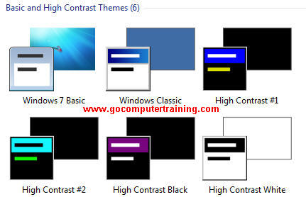 Windows 7 basic and high contrast themes