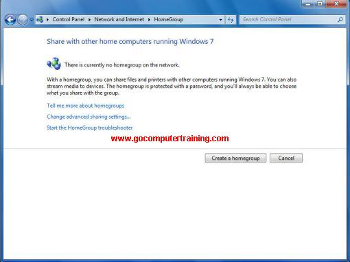 Windows 7 create homegroup