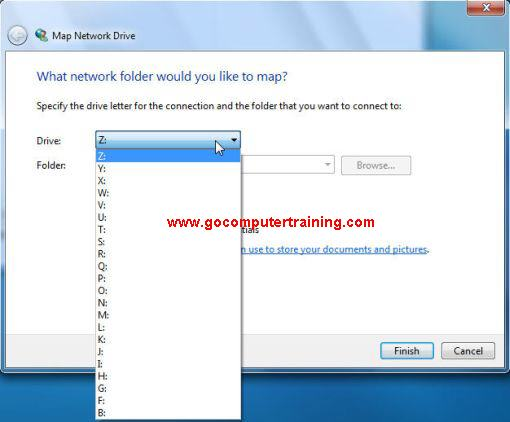 Windows 7 map network drive dialog box