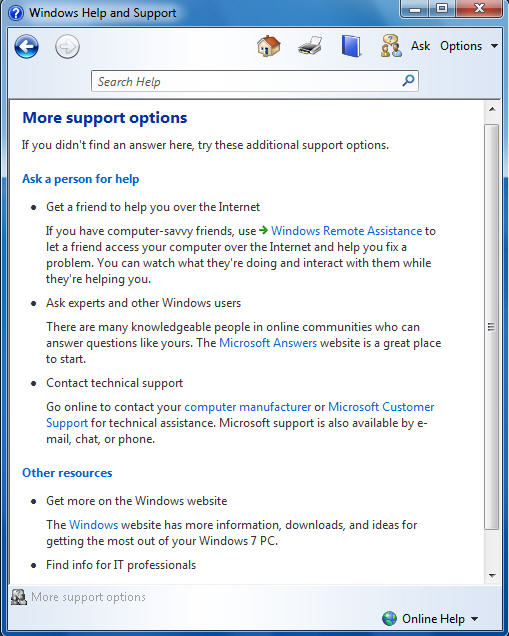 Windows 7 online Support