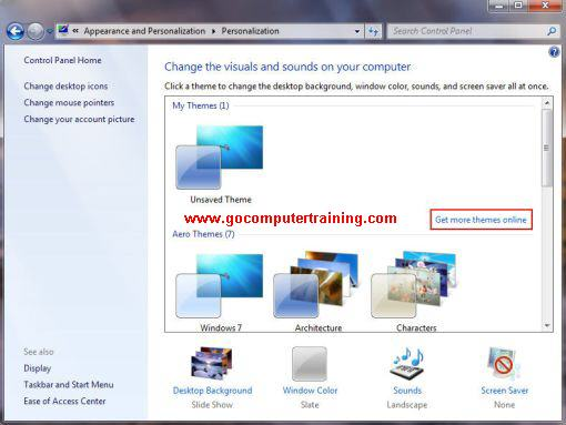 Windows 7 personalization window
