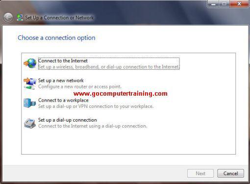Windows 7 setup connection or network dialog box