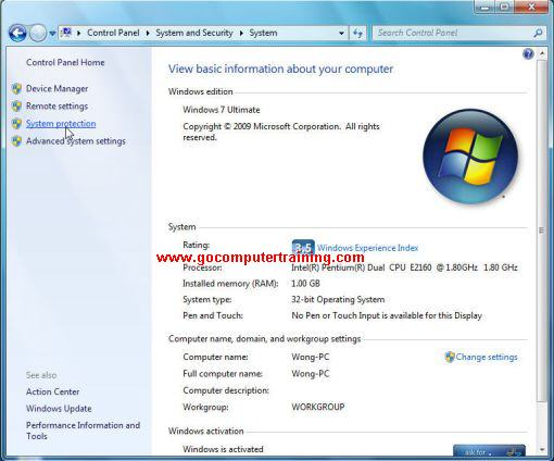 Windows 7 system dialog box
