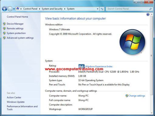 Windows 7 system information