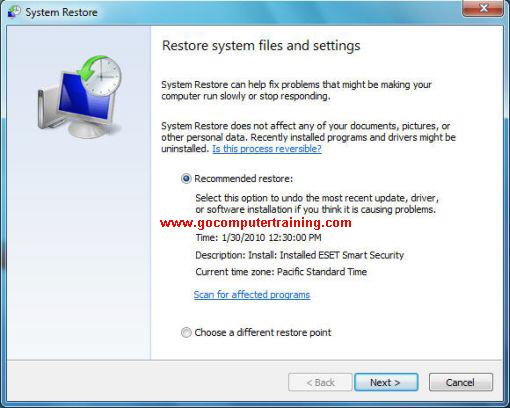 Windows 7 system restore dialog box