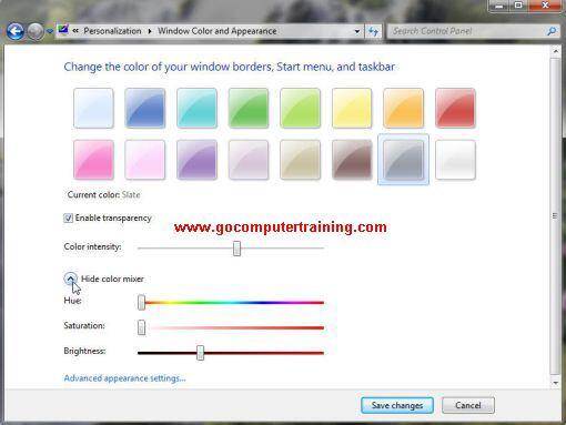 Windows 7 window color