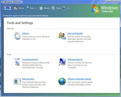 windows vista defender tool and settings