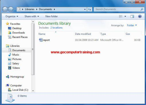 Windows explorer document library