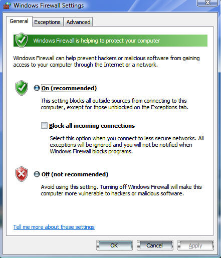 windows vista firewall settings