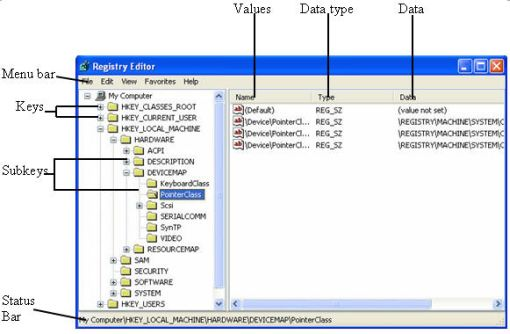 registry editor interface elements