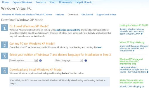 download Windows XP mode