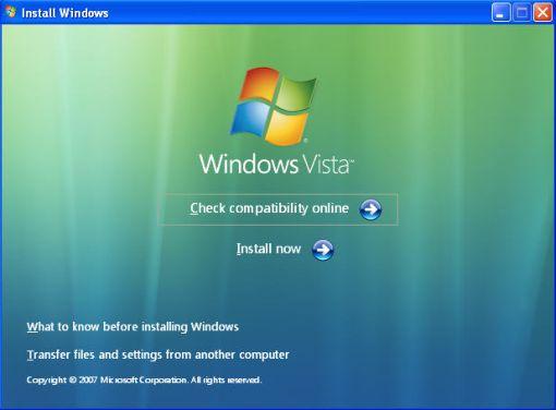install windows vista