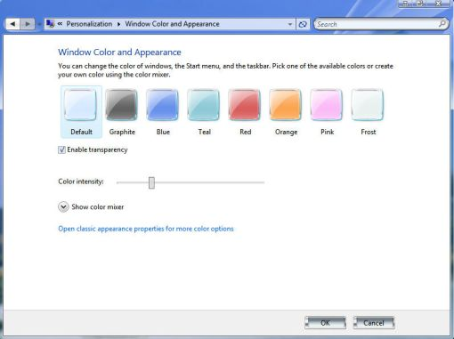 window color and appearance in vista