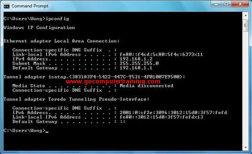 Windows 7 command ipconfig