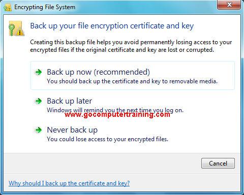 Windows 7 encrypting file system