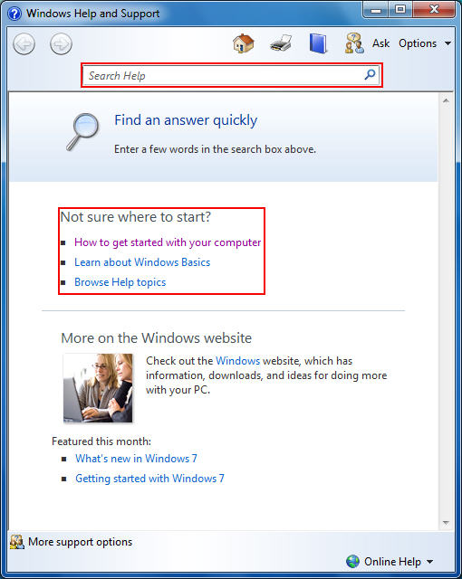 Windows 7 Help and Support