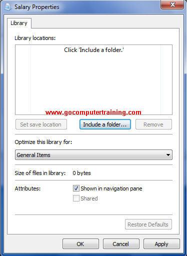Windows 7 libraries properties