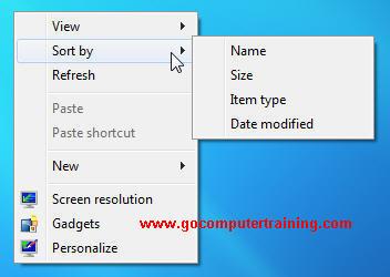 Windows 7 sort desktop icons
