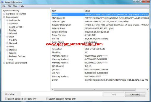 Windows 7 system information window
