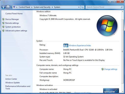 Windows 7 system properties