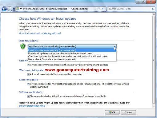 Windows 7 update change settings