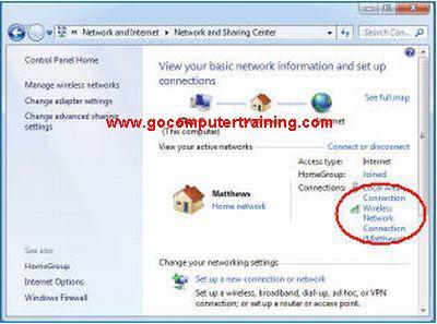 Windows 7 wireless network connection