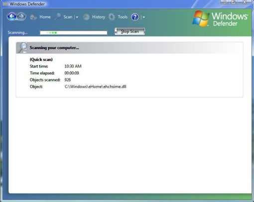 windows vista defender scannning