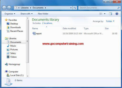 Windows explorer document library