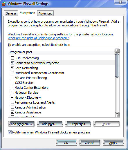 windows vista firewall settings exceptions tab