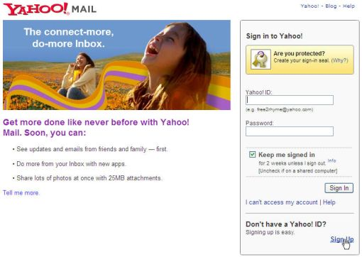 Yahoo mail sign up page