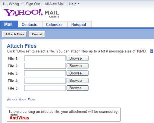 Yahoo mail attach files