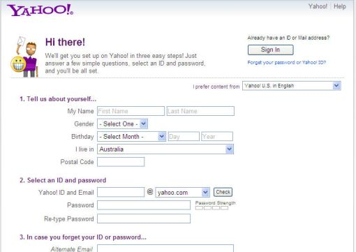 Yahoo sign up form